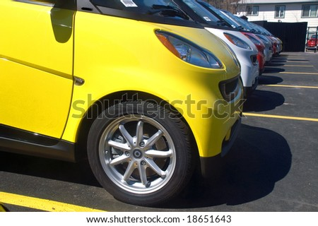 Ultra compact fuel efficient cars - stock photo
