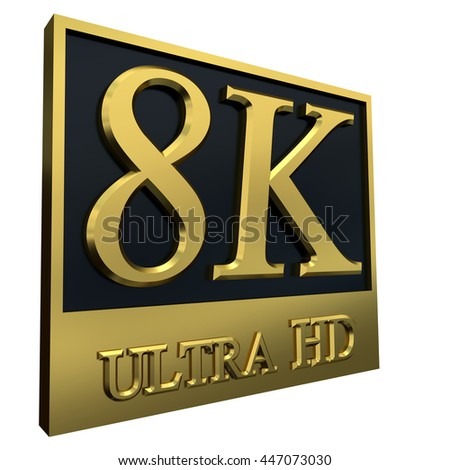 Ultra HD 8K icon isolated on white background, 3d illustration - stock photo