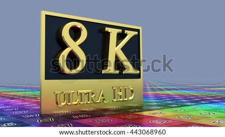 Ultra HD 8K icon on the color background, 3d illustration - stock photo
