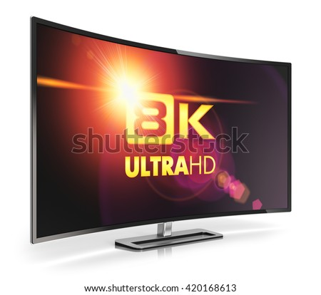 Ultra high definition digital television screen technology concept: 3D render illustration of curved 8K UltraHD resolution TV cinema or computer PC monitor display isolated on white background