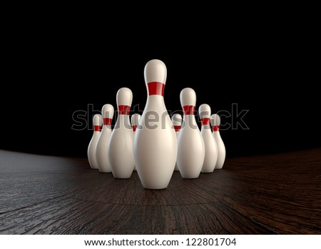 Ultra-high resolution 1st (zero) frame of  3D animation of ten-pin bowling strike - stock photo