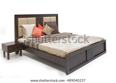 ultra modern, contemporary queen size bed made of plywood with side tables, hydraulic supported cabinet.