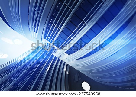 Ultra Modern Futuristic Data Center Illustration 3D artwork - stock photo