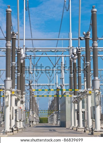 Ultra modern high voltage transformation power station for electrical Industry with several transformers view - stock photo