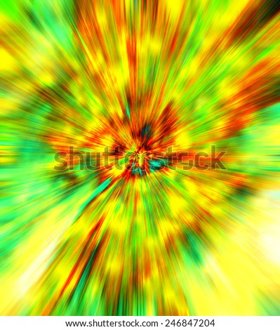 Ultra speed with spread color rays design concept. Many magnificent hypnotic colorful rays run out from single center of image on background of light