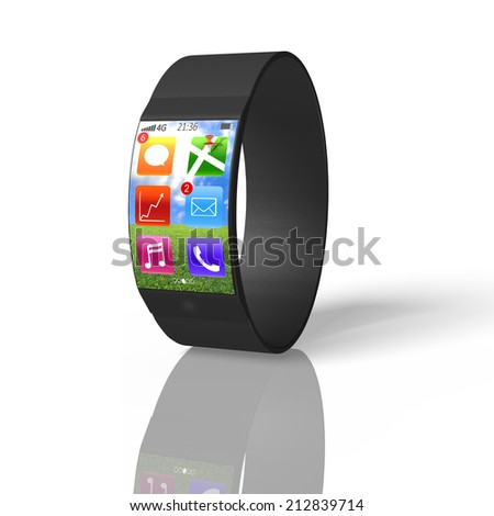 ultra-thin curved screen smart watch isolated on white with apps of line, map, trend chart, e-mail, music, phone - stock photo