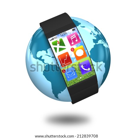 ultra-thin curved-screen smart watch with apps on globe isolated on white - stock photo