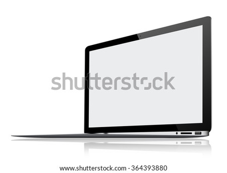 Ultra Thin Laptop isolated on white background - stock photo