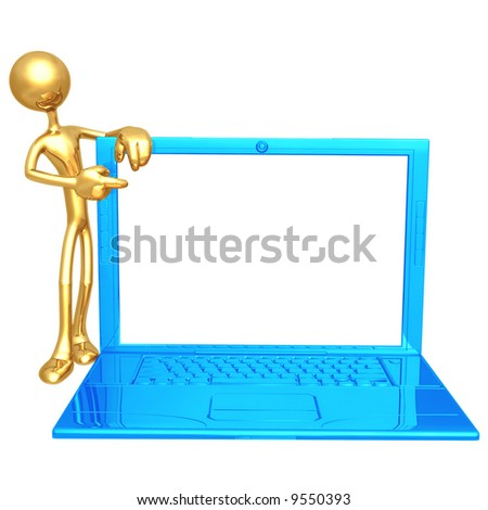 Ultra Thin Laptop Presenter - stock photo