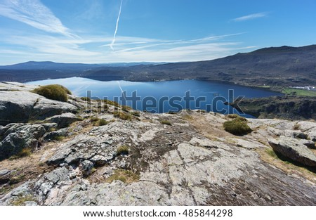 Ultra wide angle view of entire Sanabria lake in Spain