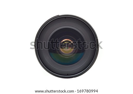 Ultra wide lens for SLR camera on white background - stock photo
