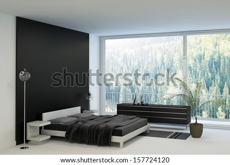 Ultramodern bedroom interior with double bed against panorama windows - stock photo