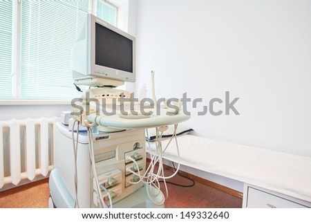 ultrasound apparatus in a consulting room - stock photo