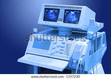 Ultrasound hi-tech medical scanner with two monitors - stock photo