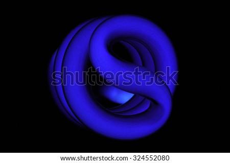 ultraviolet CFL light bulb isolated on black background - stock photo
