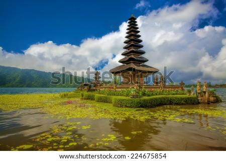 Ulun Danu temple at Beratan Lake in Bali Indonesia - stock photo