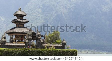 Ulun Danu temple Beratan Lake in Bali Indonesia - stock photo
