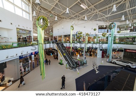"ULYANOVSK, RUSSIA - 15 MARCH 2016. Shopping center ""Aquamall"""