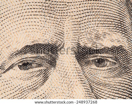 Ulysses Grant eyes extreme macro on US 50 dollar bill, united states money closeup, 2009 series - stock photo