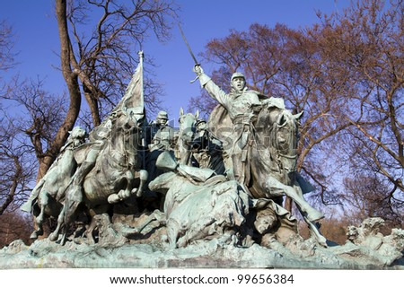 Ulysses S. Grant Cavalry Memorial at the Western base of Capitol Hill in Washington DC - stock photo