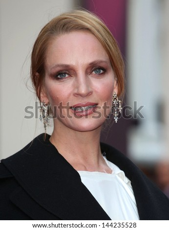 Uma Thurman arriving for the Charlie And The Chocolate Factory Press Night, at Theatre Royal, London. 25/06/2013 - stock photo