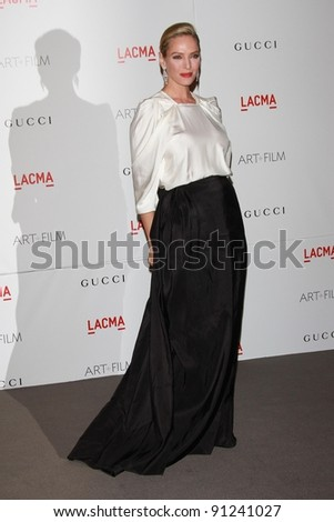 Uma Thurman at the LACMA Art + Film Gala Honoring Clint Eastwood and John Baldessari, LACMA, Los Angeles, CA 11-05-11 - stock photo