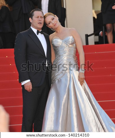 Uma Thurman & partner Arpad Busson at the closing awards gala of the 66th Festival de Cannes. May 26, 2013  Cannes, France - stock photo