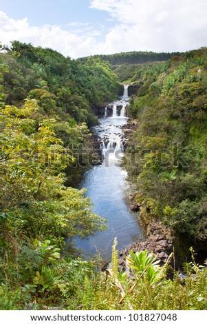 Umauma falls in Hawaii - stock photo