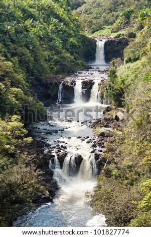 Umauma falls in Hawaii closeup - stock photo