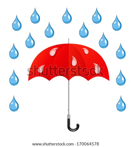 Umbrella and rain drops on the white background - stock photo