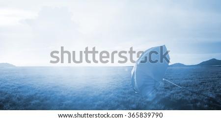 Umbrella at summer - stock photo