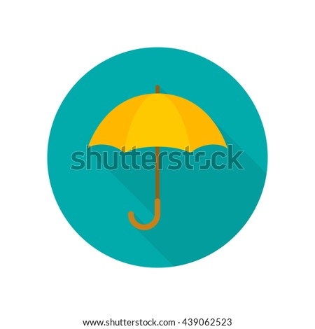 Umbrella closeup. Umbrella flat icon with long shadow. Yellow umbrella isolated on background