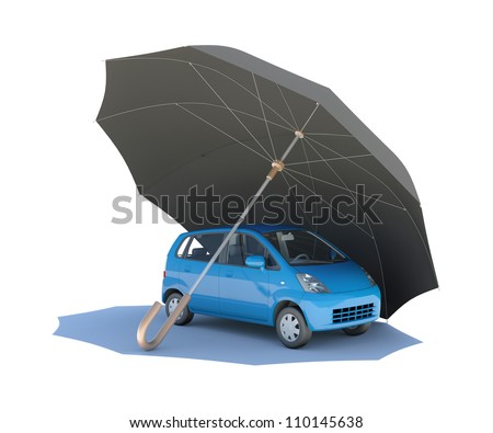 Umbrella covering blue car. Isolated on white background