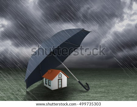 umbrella covering home under heavy rain