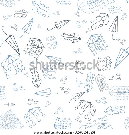 Umbrella doodle seamless pattern, weather collection. Raster version