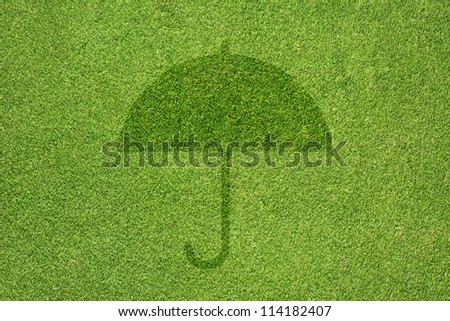 Umbrella icon on green grass texture and  background