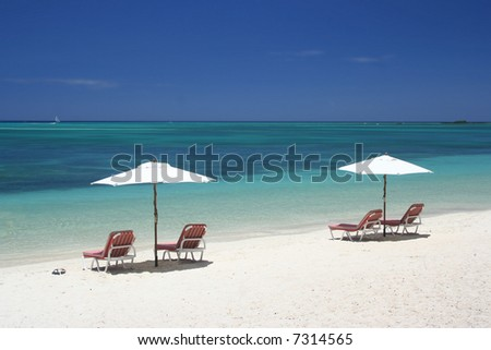 Umbrella on tropical beach recreation