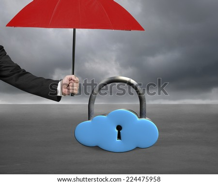 umbrella protect sky blue cloud lock on gray cloudy background - stock photo