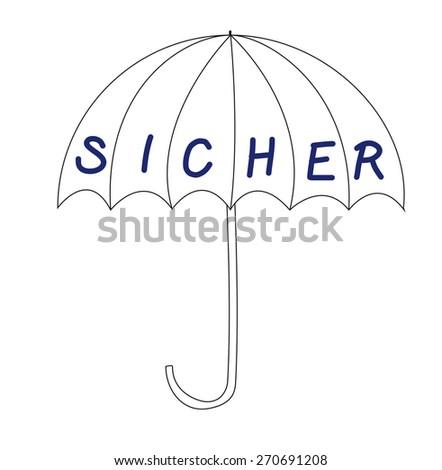 Umbrella, sicher - safe in german - stock photo
