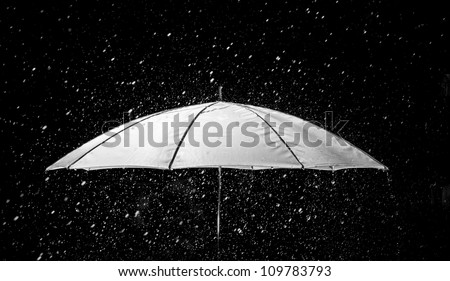Umbrella under raindrops in black and white