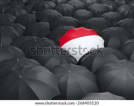 Umbrella with flag of indonesia over black umbrellas - stock photo