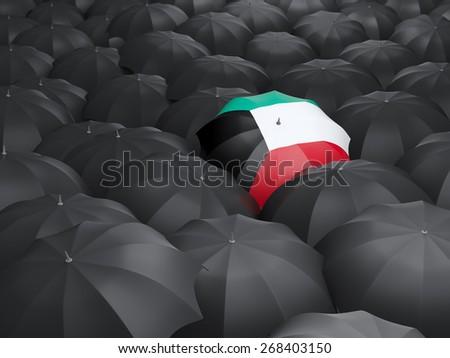 Umbrella with flag of kuwait over black umbrellas - stock photo