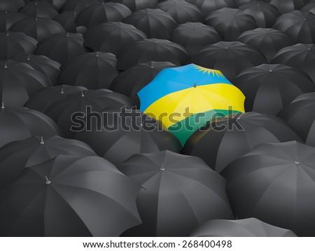 Umbrella with flag of rwanda over black umbrellas - stock photo