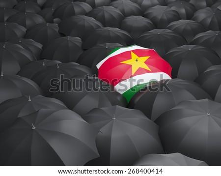 Umbrella with flag of suriname over black umbrellas - stock photo