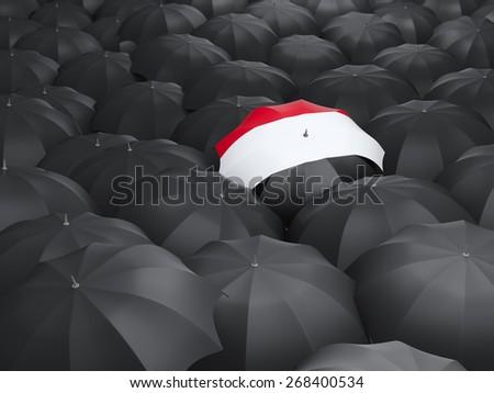 Umbrella with flag of yemen over black umbrellas - stock photo