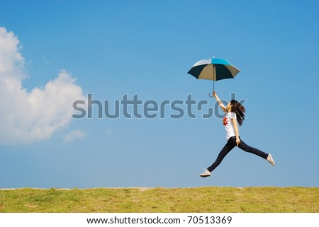 umbrella woman jump to sky