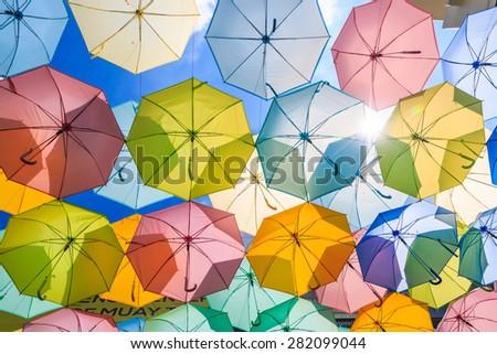 umbrellas - stock photo