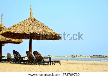 Umbrellas and bed chairs on the beach - stock photo
