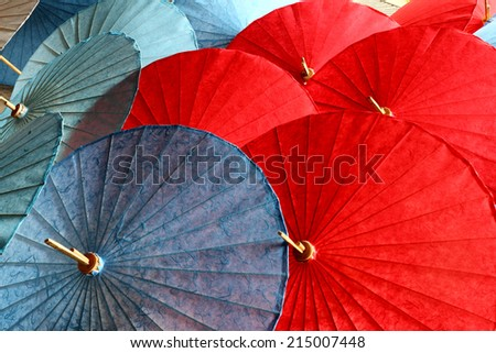 umbrellas background, handmade in Chiang Mai, Thailand. - stock photo