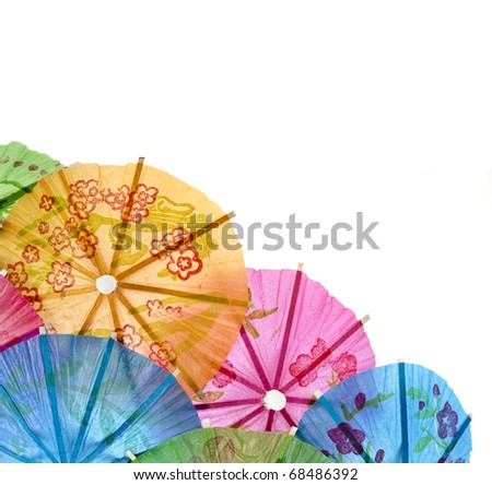 umbrellas for cocktails isolated on white background - stock photo
